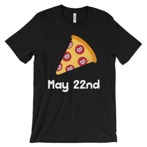 Bitcoin Pizza with date – Men's/Unisex Short Sleeve T-shirt